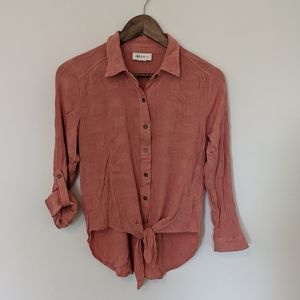 Style & Co. tie front coral blouse small petite